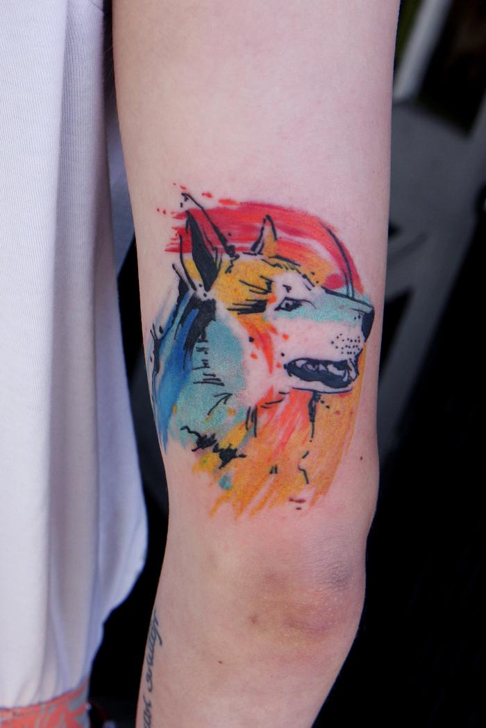 ein Hund von vier Farben umgeben bildschönes Watercolor Tattoo von Haustier