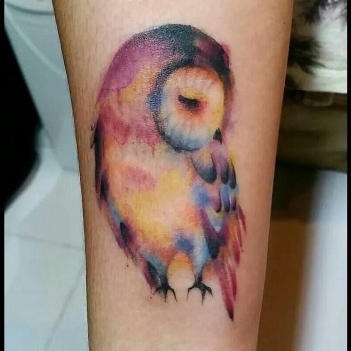 eine bunte Eule die schläft in einigen Farben von dem Feder Watercolor Tattoo