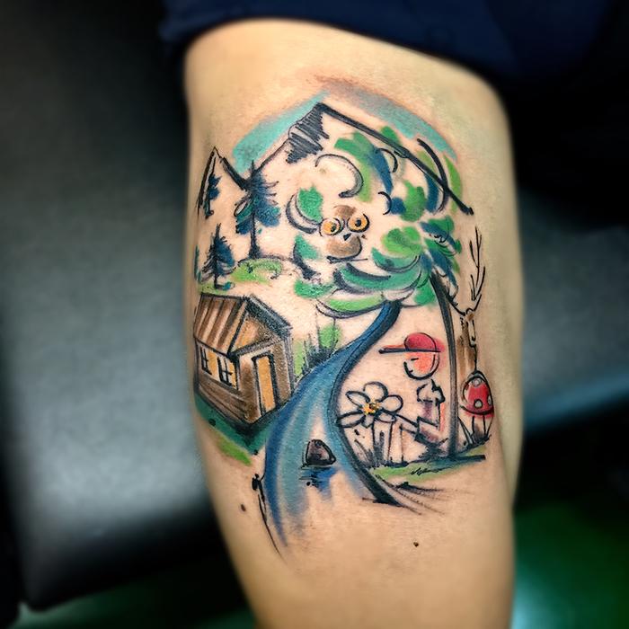 ein Gebirge, ein Häuschen und ein sitzender Junge - Wasserfarben Tattoo Komposition