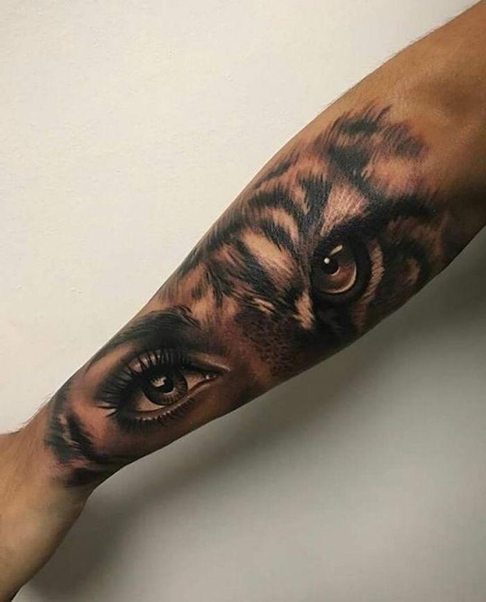 tigerkopf tattoo, arm tätowieren, frau, augen, tätowierung