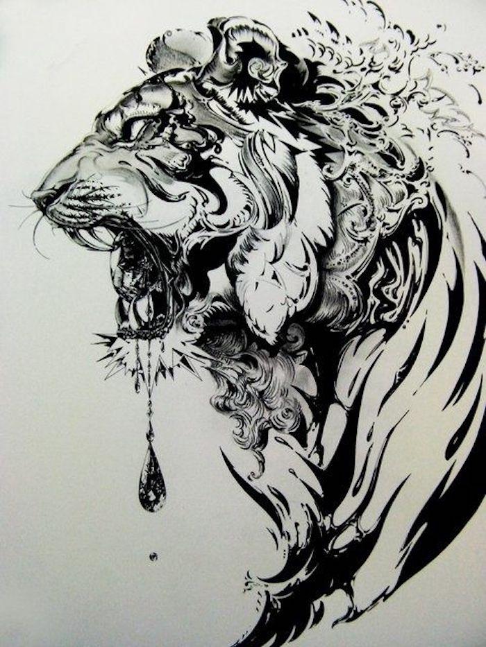schwarz-weiße zeichnung, tiger, tattoovorlage, vorlage