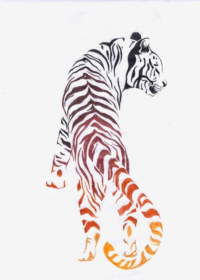 zeichnung in schwarz, rot und orange, tattoovorlage