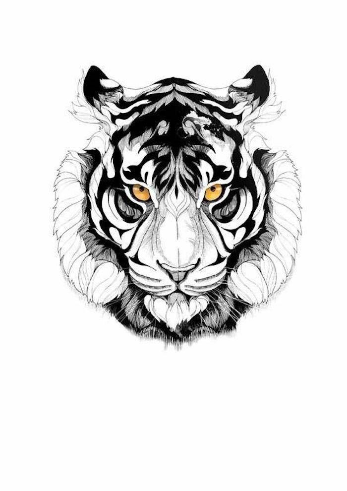tigerkopf tattoo, orange augen, schwarz-weiße zeichnung