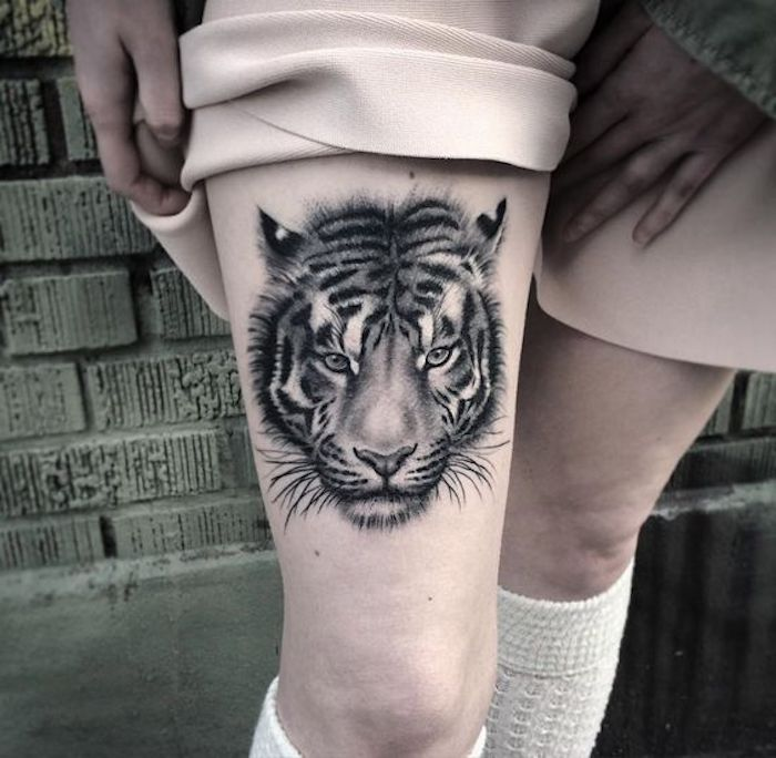 1001 ultra coole tiger tattoo ideen zur inspiration. Black Bedroom Furniture Sets. Home Design Ideas