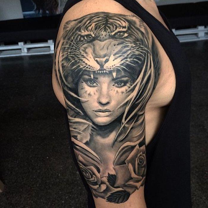 tiger tattoos, mann, frau, rosen, tigerkopft