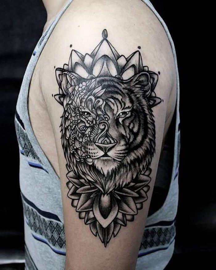 tiger tattoos, krone, tigerkopf, mann, oberarm tätowieren