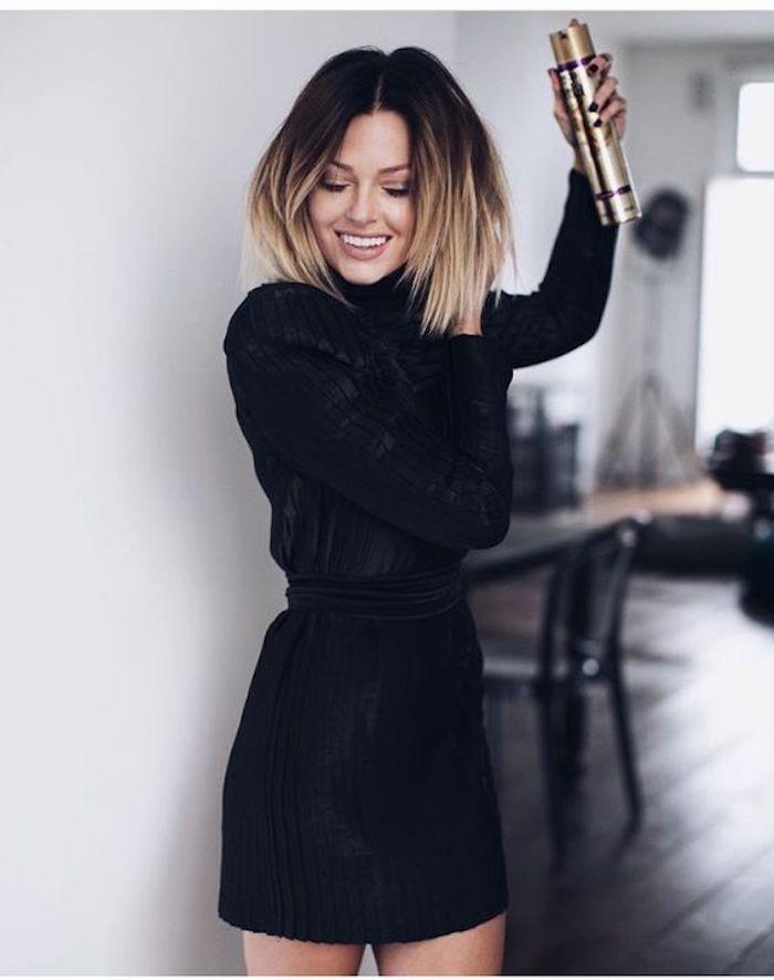 neue frisuren, schwarzes kleid mit langen ärmeln, ombre effekt