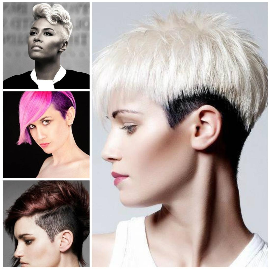 vier Designs von Undercut Frauen in zwei unterschiedlichen Farben - schwarz-weiß, rosa-lila und andere