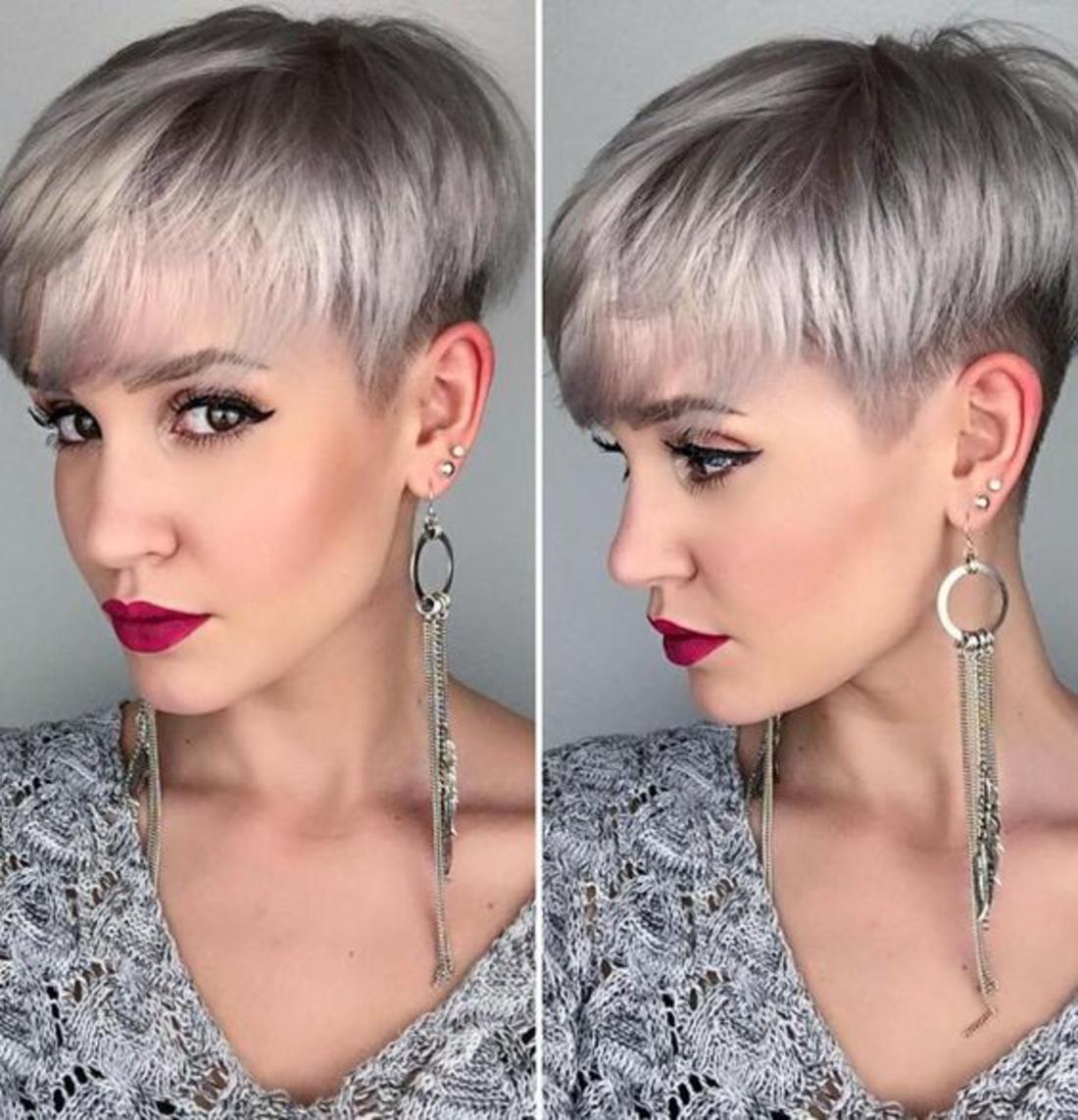 graues Haar mit längen Ohrringen runder Akzent roter Lippenstift - Damen Undercut