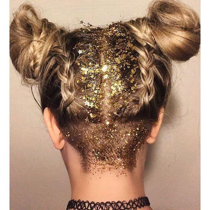 undercut frisur damen mit glitzer party hairstyle inspo space buns frisuren mit zwei dutts und zwei zöpfe langhaarfrisuren inspo