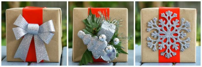 silberne Dekorationen - Band, Tannenbaum und Schneeflocke - Geschenke kreativ verpacken