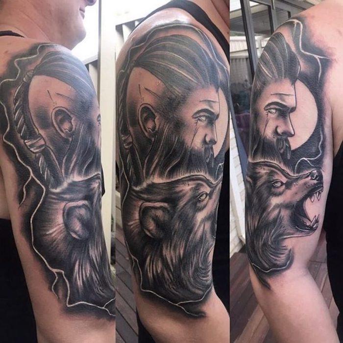 großer wikinger tattoo, mann mit schwarzen haaren, wolf
