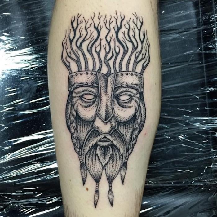 wikinger, maske, bäume, mann mit langen bart, helm