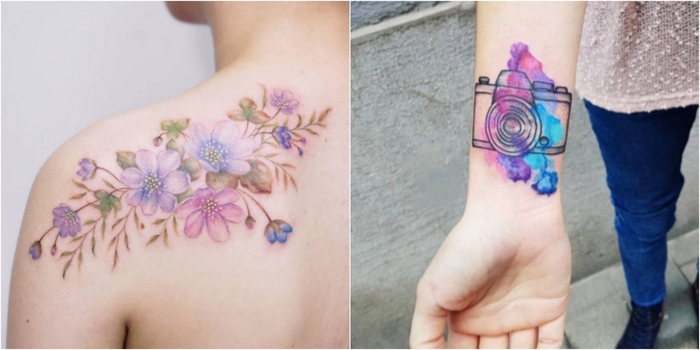 zwei Tattoo in Lila Water Color Fotoapparat und Blumen Water Color Tattoo