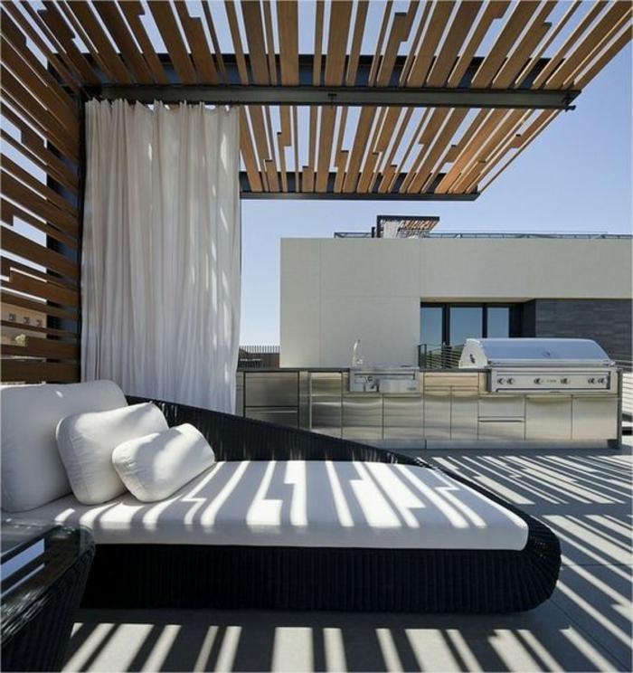 Beschattung Dachterrasse Sichtschutz Gartenbett aus Rattan Küche auf der Terrasse