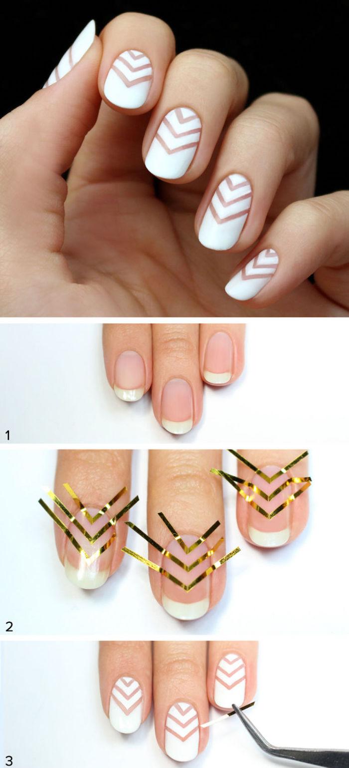Verschiedene Fingernägel Motive Sammlung Von Nägel Muster, Nageldesign In Weiß Mit Geometrischen