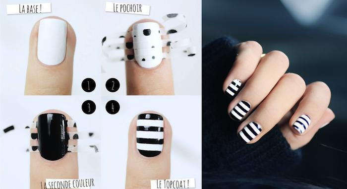 nägel muster, nageldesign in schwarz und weiß selber machen