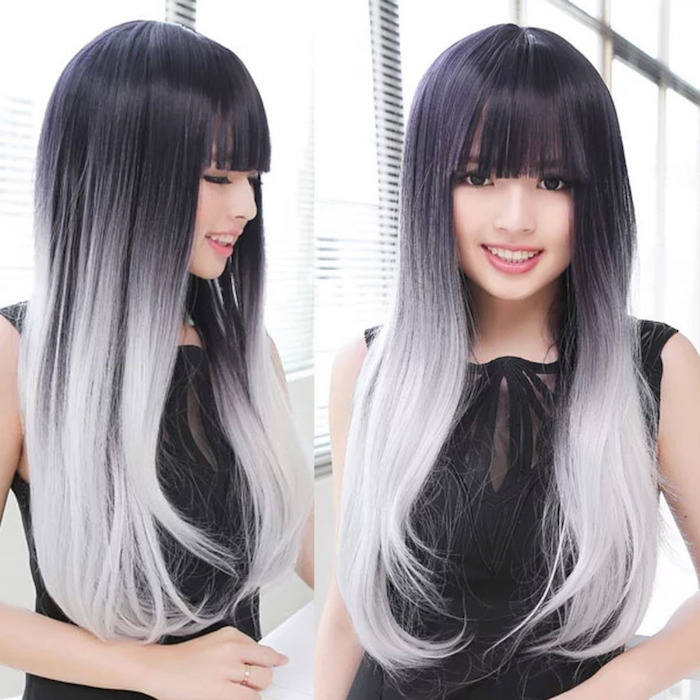 haare grau färben, lange glatte harre in schwarz und grau, ombre effekt