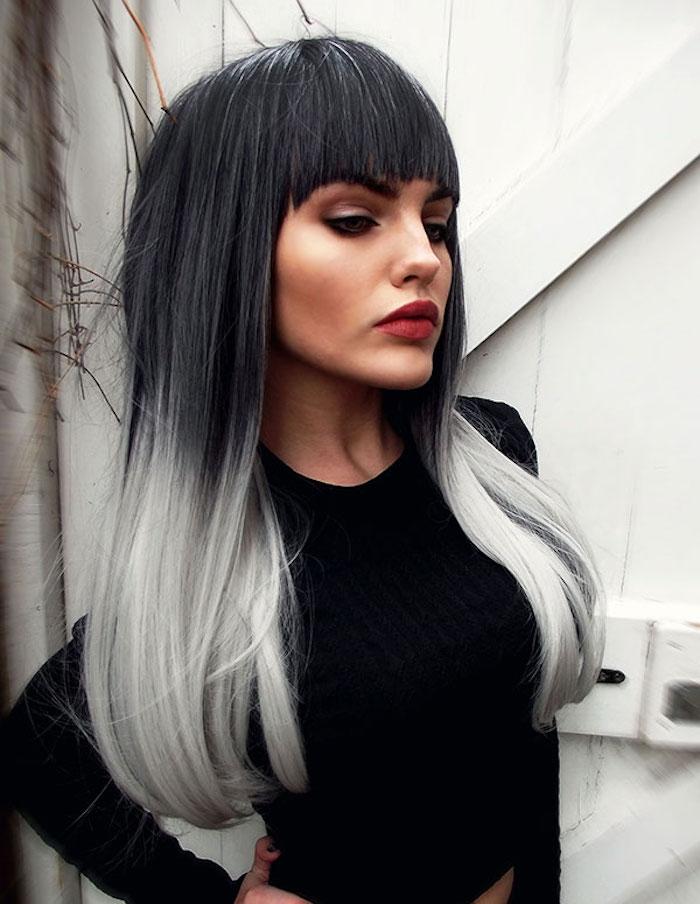 haare grau färben, lange glatte haare in schwarz und grau, ombre effekt