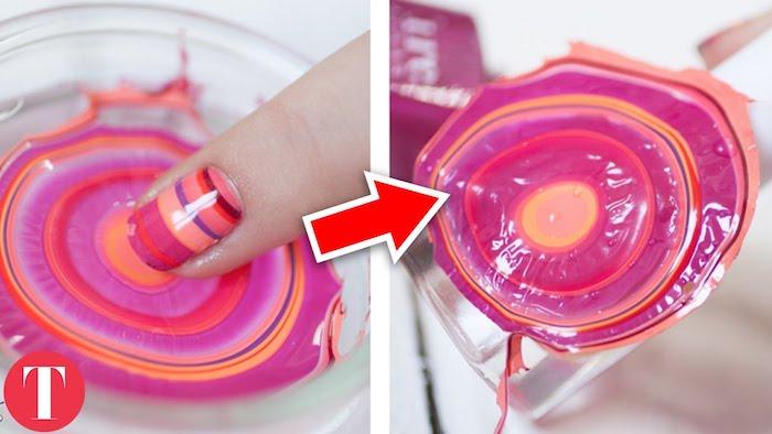 nägel muster, glas mit wasser, nageldesign in rosa, orange und rot