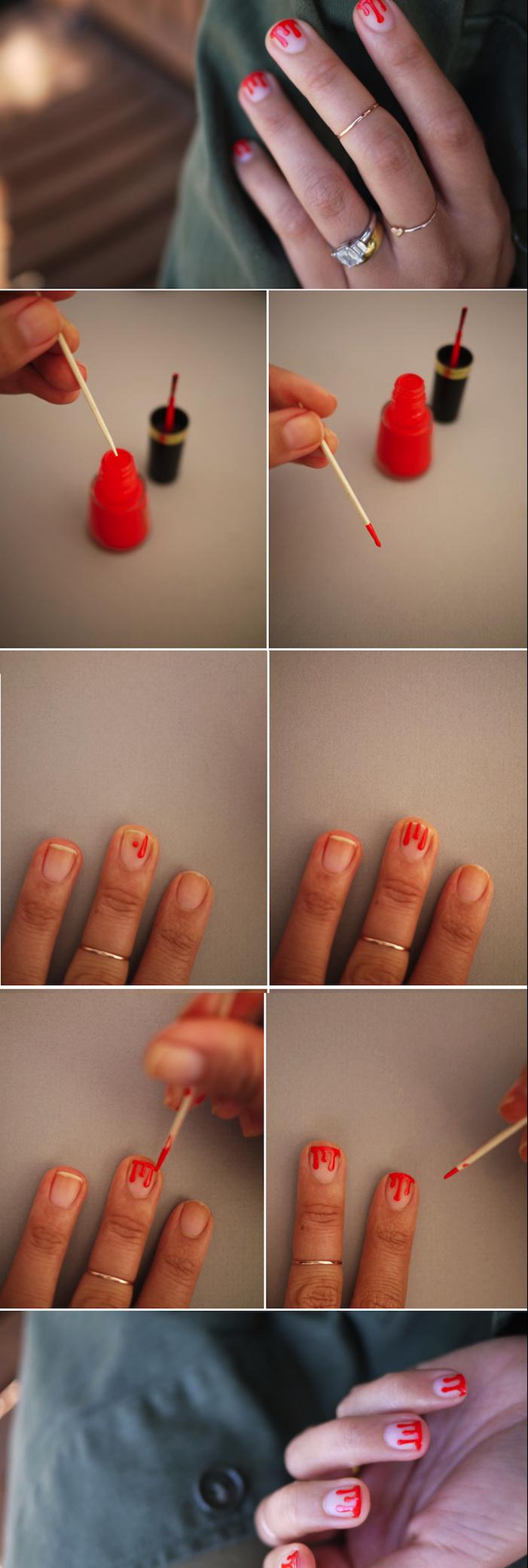 nailart bilder, roter nagellack, kurze nägel lackieren, diy