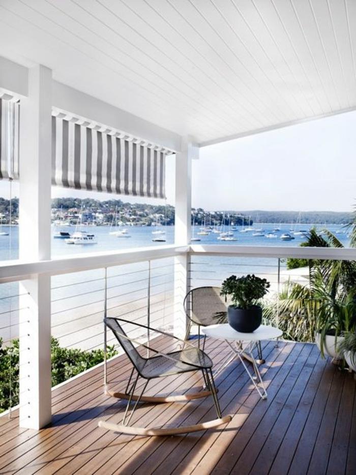 Holz Balkon Terrassenüberdachung weiß Sonnenschurtz Sonnensegel