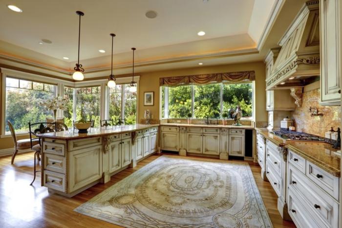 große landhaus küche küchenfronten shabby style küchen gardinen