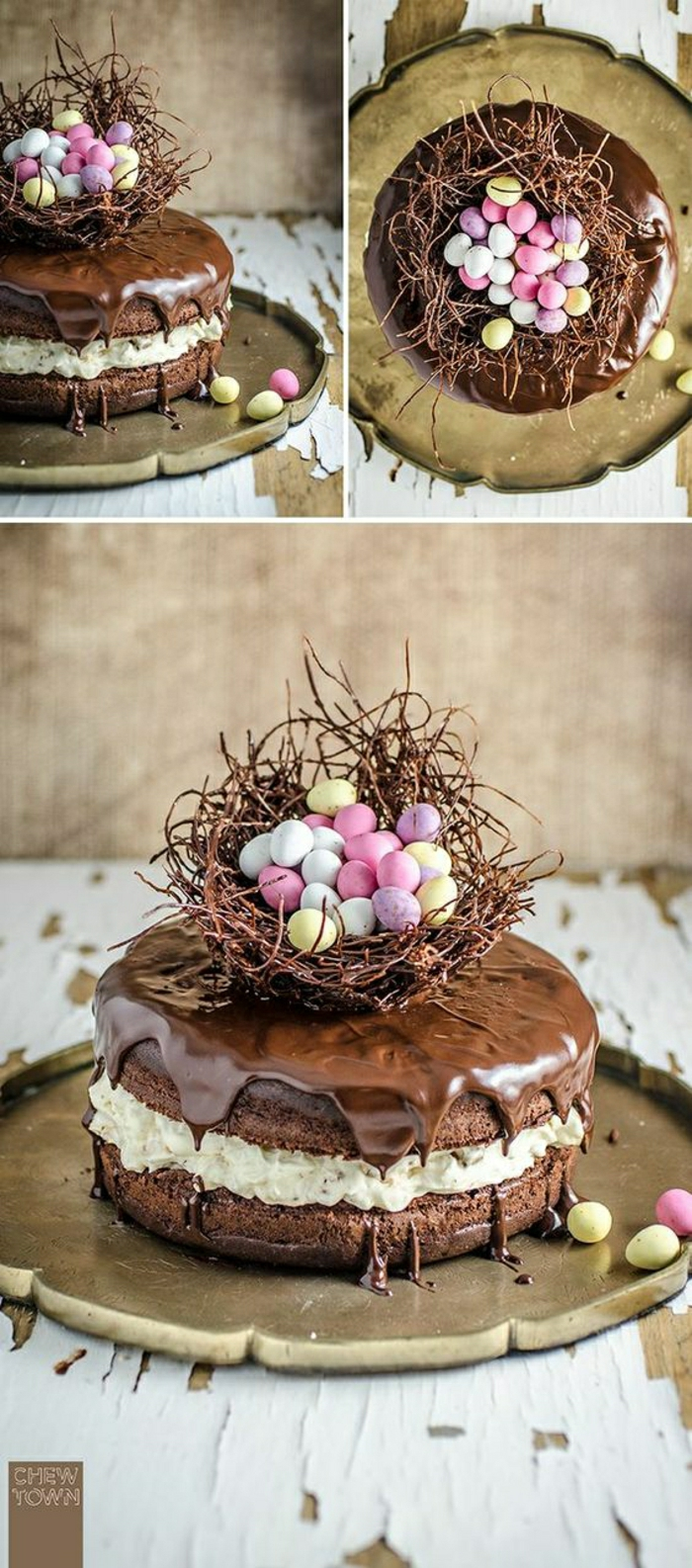Schoko Torte mit Oster Motiv Osternest mit kleinen bunten Eiern