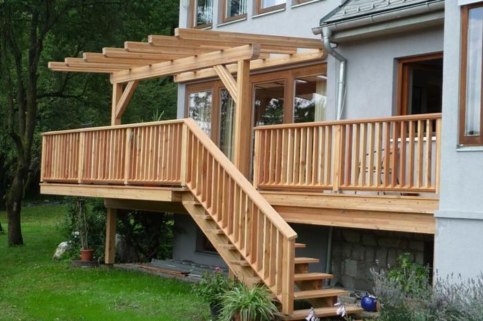 Terrassen und Balkon Überdachung Holz Außentreppen