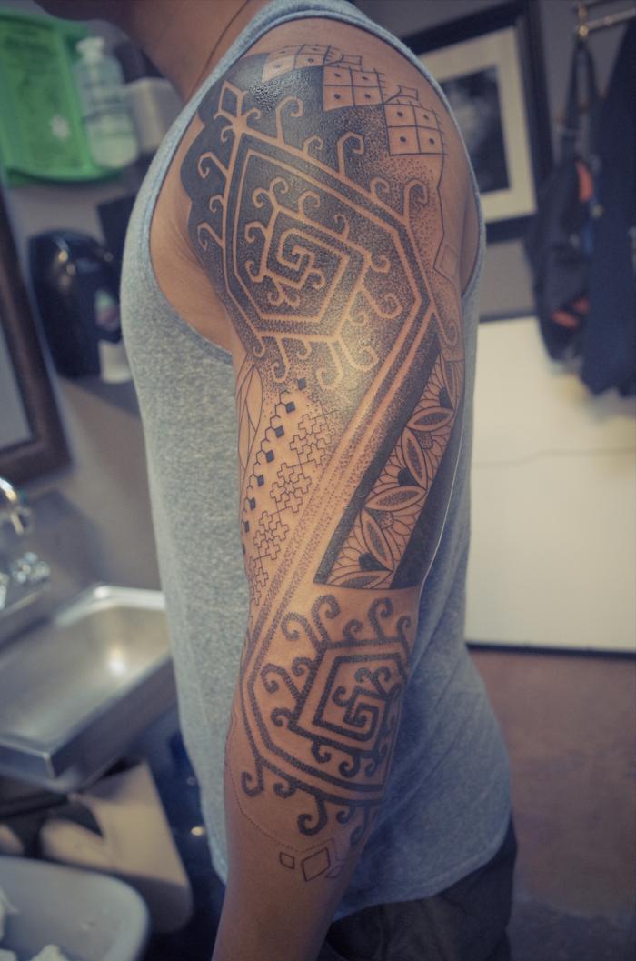 Tattoo geometric abstrakte Muster am Hand und Schulter Tattoo für Männer