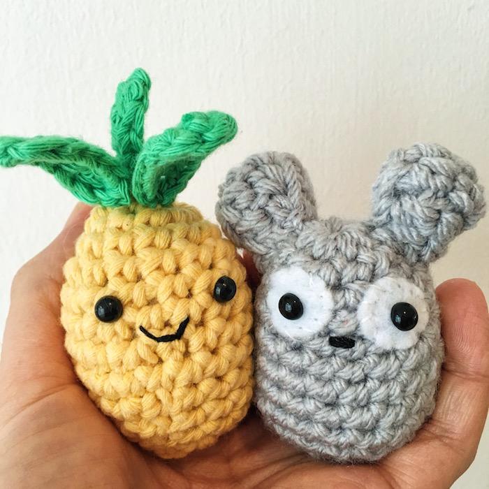 Amigurumi häkeln die erste Versuche von einem Ananas und ein Maus - ganz einfach