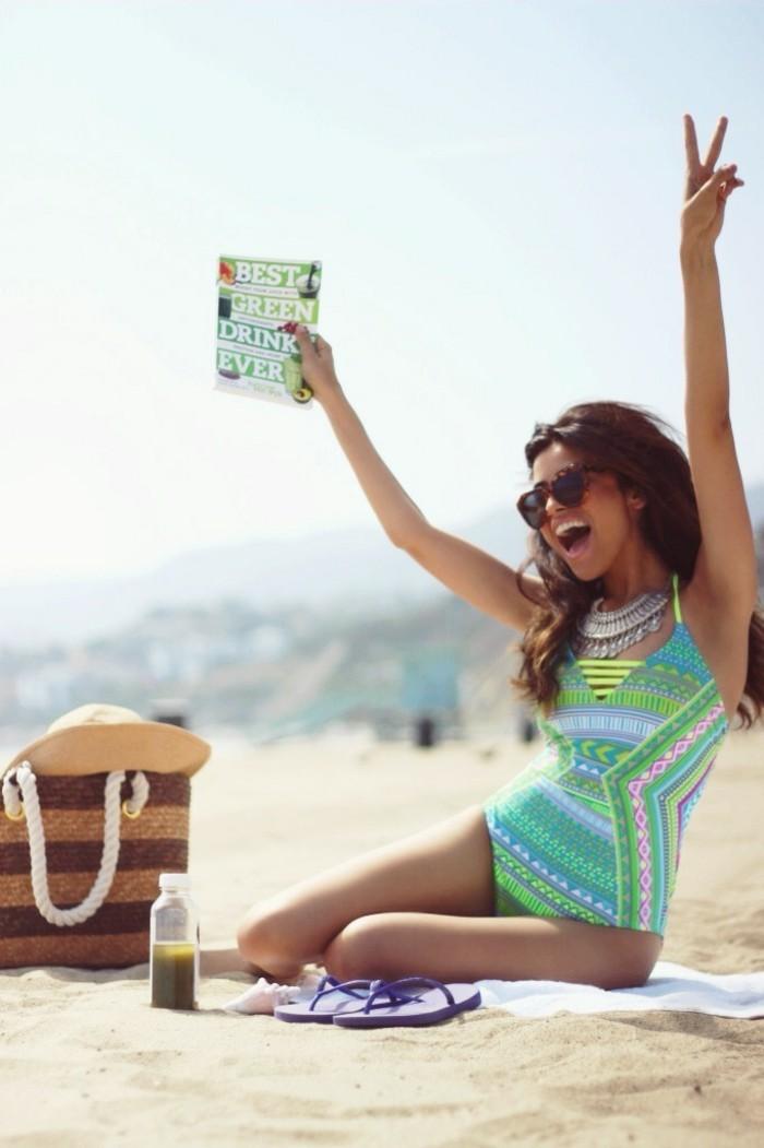 exklusive bademode trendy ideen neonfarbe badeanzug einteil für damen strand