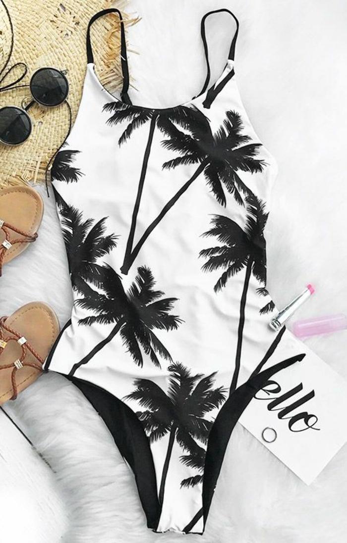 exklusive bademode einteil badeanzug sandalen runde sonnenbrille lippenstift