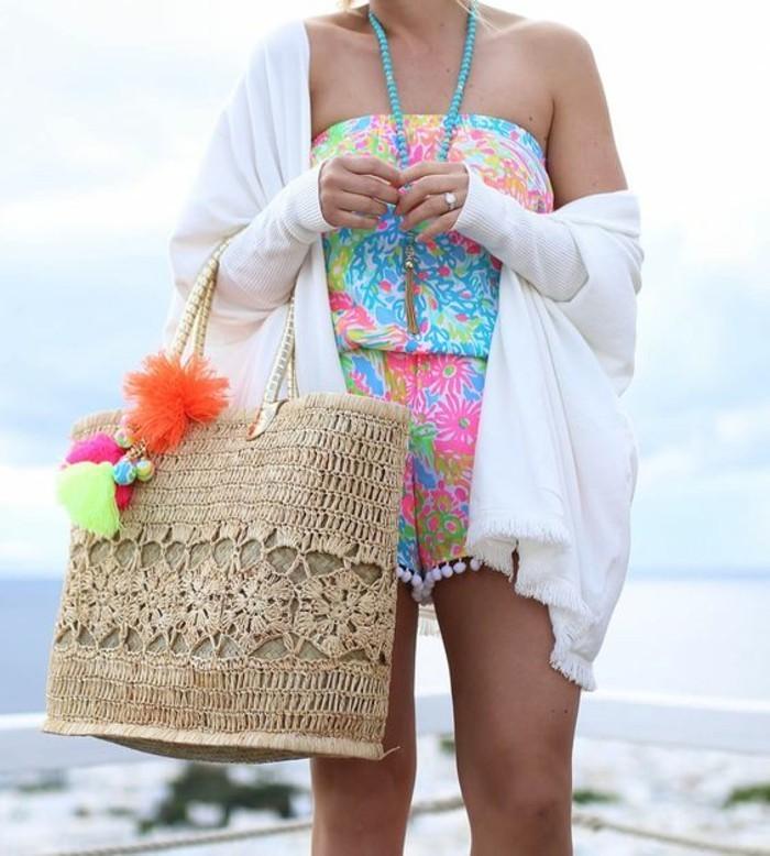 außergewöhnliche bikinis badeklamotten für den strand strandtasche mit deko