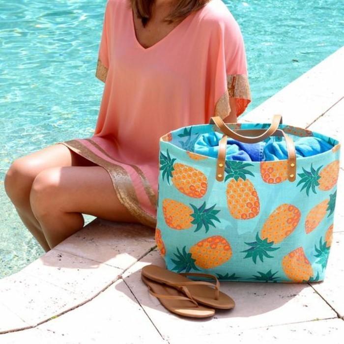 außergewöhnliche bikinis tunika in orange und golden und eine tolle strandtasche