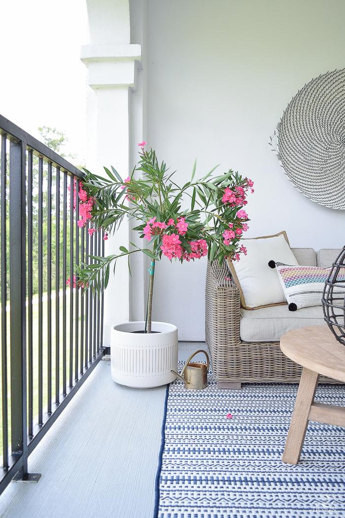 schöne Balkoneinrichtung, Rattansofa und Holztisch, rosa Oleander in weißem Blumentopf