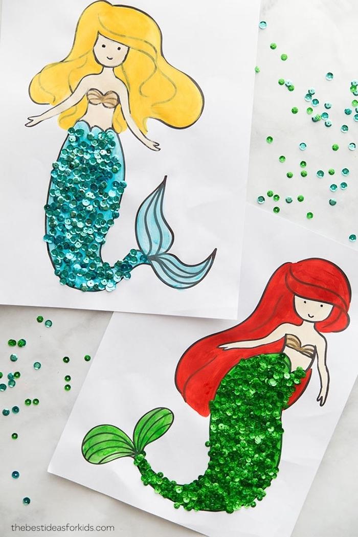 Ideen für Basteln mit Kleinkindern, Meerjungfrauen Bilder ausmalen, Pailletten aufkleben