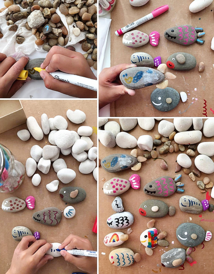 tolle Bastelideen für Kinder, Dekosteine bemalen, kleine Fische und Mäuse basteln