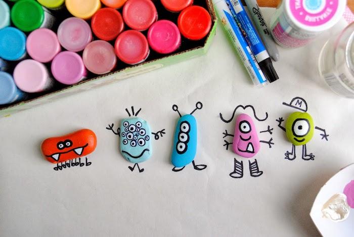 DIY tolle Monster Steine, Steine mit Acrylfarben bemalen, Basteln mit Kleinkindern