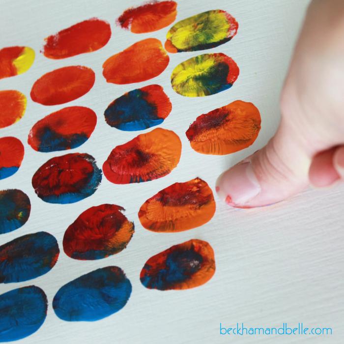 schöne Bastelideen für Kinder, Ananas mit Fingerabdrücken zeichnen, kreative DIY Ideen