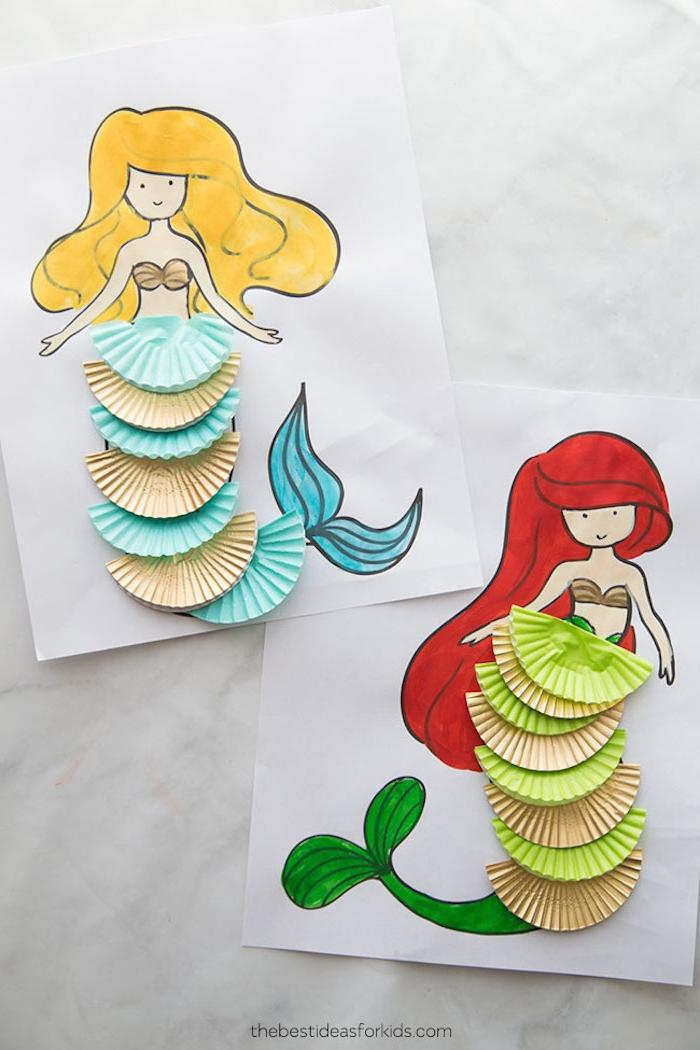 Meerjungfrauen Bilder ausmalen, DIY Ideen für Kleinkinder, bunte Filter auf den Schwanz kleben