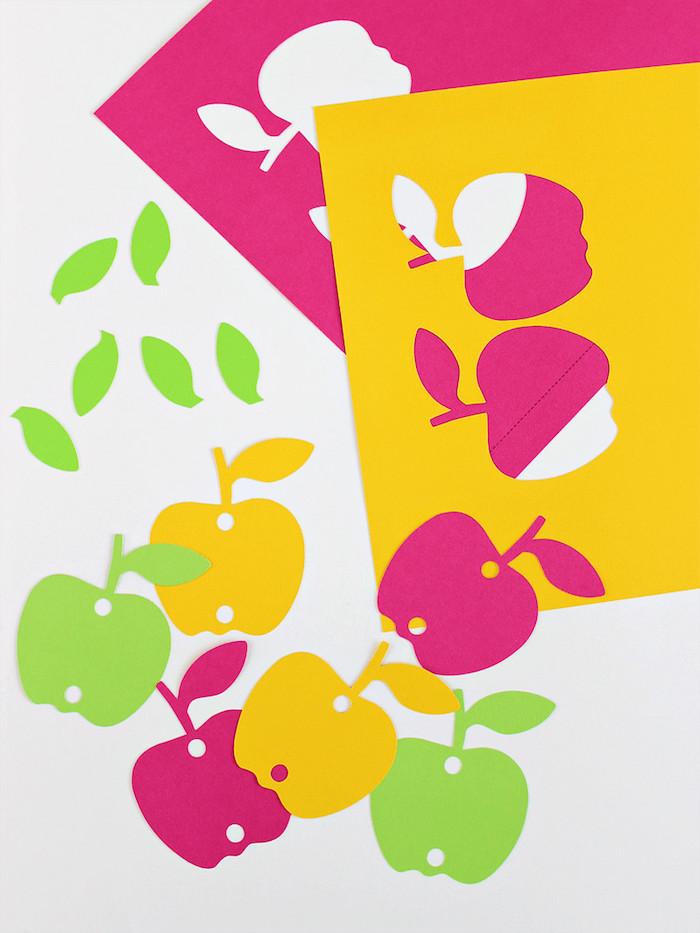 Tolle Bastelideen für den Kindergarten, bunte Äpfel aus Papier ausschneiden