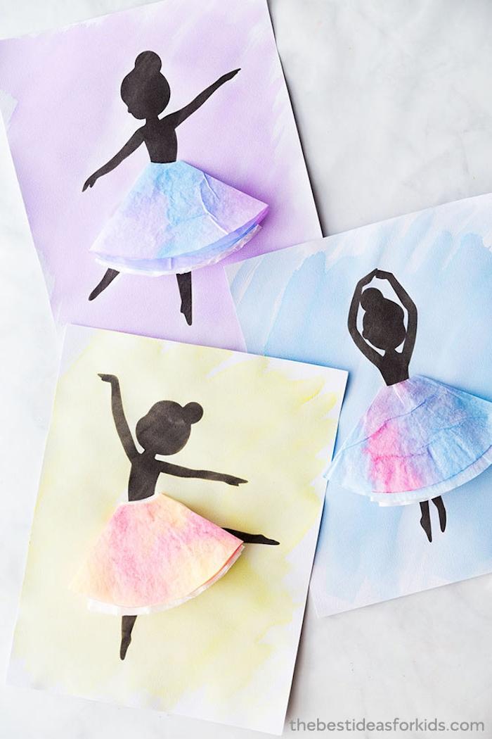 Karten basteln mit Kindern, Ballerina Grußkarte selber machen, mit 3D Rock