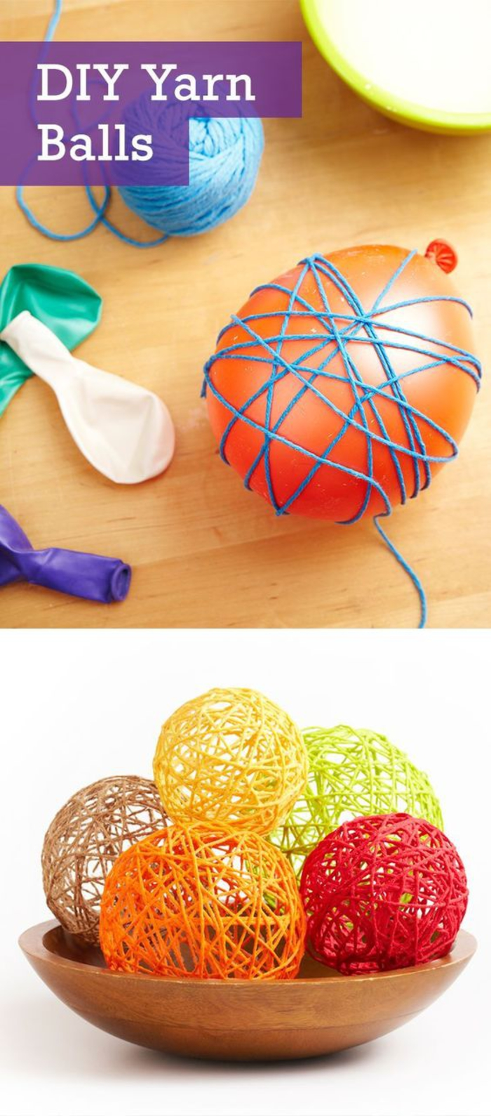 bunte Kugeln selber basteln, Materialien: Ballons, Garn, Klebstoff, DIY Ideen für Kinder