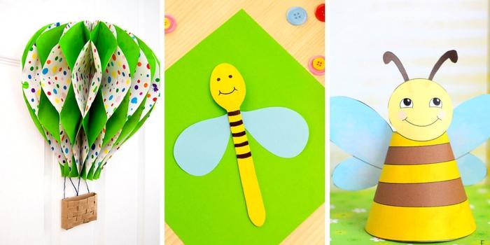 tolle Bastelideen für Kinder, Ballon und Biene aus Papier schneiden, einfach und kreativ