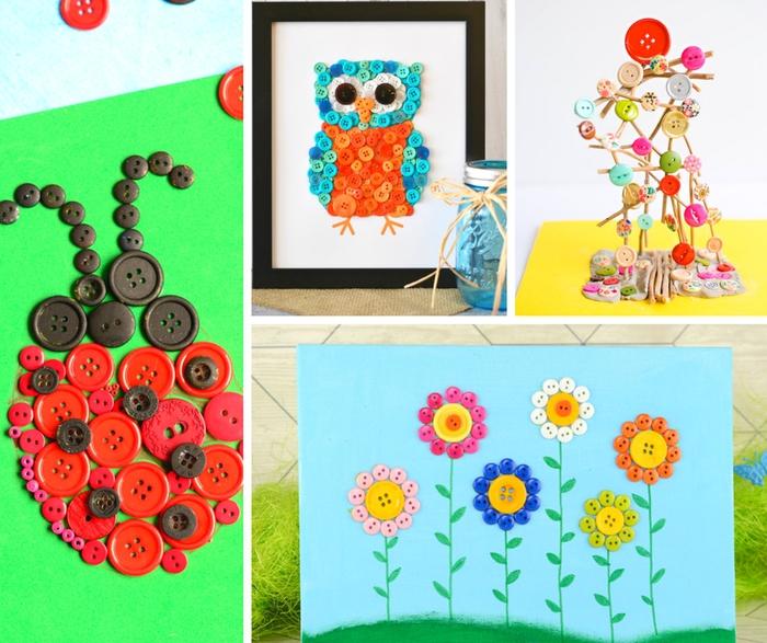 DIY Ideen für Kinder, mit bunten Knöpfen basteln, Marienkäfer, Blumen und Uhu