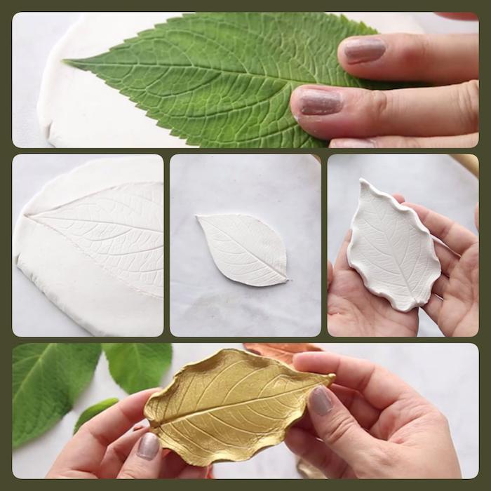 Herbstblätter basteln aus Modelliermasse, Anleitung in fünf Schritten, mit goldenem Spray besprühen