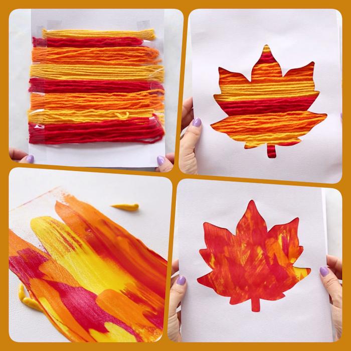 Karten mit herbstlichen Motiven selber basteln, basteln mit Kindern im Herbst, Herbstblatt aus Garn