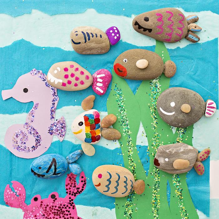 """DIY Projekt für Kinder """"Unterwasser"""", Fische und Seepferdchen aus Dekosteinen basteln"""