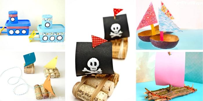tolle DIY Idee für Kinder, Boote aus Korken, Papier, Faden und Zahnstocher selber machen